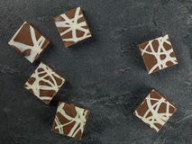 Individual Decorated and Iced Chocolate Tiffin Cakes. Against a Black Background Stock Images