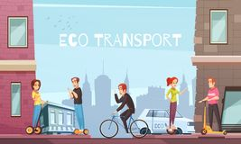 Individual Eco Transport City Poster. Eco city transport with personal transit devices as scooter two-wheeled electric hoverboard bicycle cartoon vector Stock Images