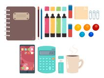Individual elements of office objects. Twelve office items. Individual element and working set. Use for web or print vector illustration