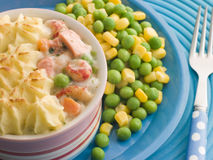 Individual Fish Pie with Peas and Sweetcorn Stock Photography