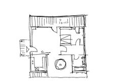 Individual Floor Plan Of A Home. Drawing of a ground floor of an individual home with porch and court, done in black and white colors, simple illustration for Stock Image