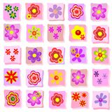 Individual floral illustrations. Background collection of simple individual floral illustrations Royalty Free Stock Photo