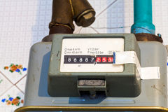 Individual gas meter. Of usual diaphragm style on home flat royalty free stock photo