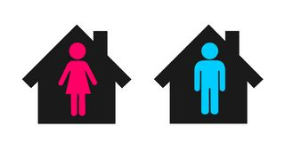 Individual housing of lonely and independent single man and woman. / Separated heterosexual couple is living detached in two houses. Vector illustration vector illustration