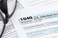 Individual income tax return form by IRS, concept for taxation.  royalty free stock images