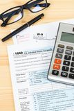 Individual income tax return form by IRS, concept for taxation.  stock photography