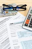 Individual income tax return form by IRS, concept for taxation.  stock photos
