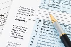 Individual income tax return form by IRS, concept for taxation.  royalty free stock image