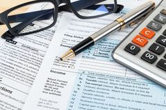 Individual income tax return form by IRS, concept for taxation.  stock images