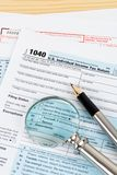 Individual income tax return form by IRS, concept for taxation.  royalty free stock photography