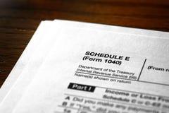 Individual Income Taxes Schedule E stock photo