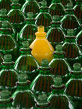 Individual. One yellow plastic bottle among many green ones stock images