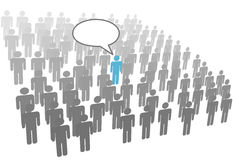 Individual person speech in crowd social group. One individual person talk in crowd social network group or company vector illustration