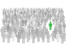 Individual person stands out large crowd of people. One colorful individual person stands out from large diverse crowd of gray symbol people Stock Images
