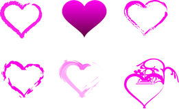 Individual Pink Hearts. Selection of six individual pink hearts isolated on white background Royalty Free Stock Photography