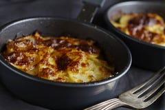 Individual potato gratins close up horizontal. Individual gourmet potato gratins close up horizontal royalty free stock image