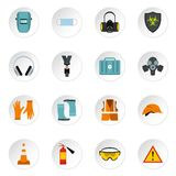 Individual protection icons set, flat style Royalty Free Stock Image
