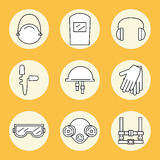 Individual protection. Set of icons of personal protective equipment in construction. Stock Photos