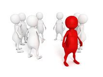 Individual red 3d man standing out from crowd Stock Images