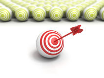 Individual red target ball with arrow in bull eye center Stock Photography