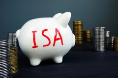Individual savings account ISA written on a piggy bank. Individual savings account ISA written on a side of piggy bank royalty free stock photo