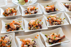 Individual seafood starters Royalty Free Stock Photos