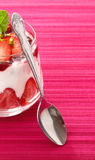 Individual serving of strawberry dessert Stock Images