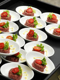 Individual servings of beef tartare Royalty Free Stock Photos