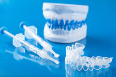Individual set for teeth whitening silicone tray syringe.  Royalty Free Stock Image