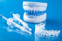 Individual set for teeth whitening silicone tray syringe Royalty Free Stock Image