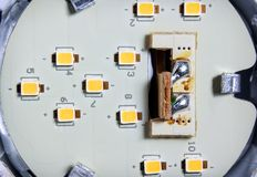 Individual SMD LED Chips Soldered on a Circuit Board Inside a LE. D Light Bulb Royalty Free Stock Photography