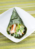 Individual Sushi Cone in Small White Plate Royalty Free Stock Photography