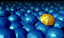 Individual thinking. Business symbol with a large group of blue umbrellas and standing out from the crowd as a confident yellow umbrella as icons of protection vector illustration