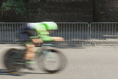 Individual Time Trial Cyclist on a Street Stock Image