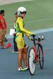 Individual time trial. Cyclists compete in the women's individual time trial on a velodrome in the city of Solo, Central Java, Indonesia royalty free stock photo