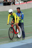 Individual time trial. Cyclists compete in the women's individual time trial on a velodrome in the city of Solo, Central Java, Indonesia stock images