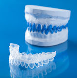 Individual tooth tray for whitening. Over blue royalty free stock images