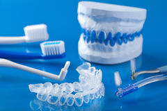 Individual tooth tray for whitening and toothbrushes. Closeup shot of individual tooth tray for whitening and toothbrushes Stock Photos