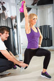 Individual training. Individual trainer with his client stock photos
