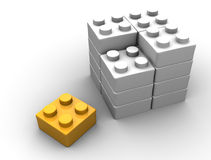 Individuality. One individuality blue toy block - 3d render Royalty Free Stock Photo