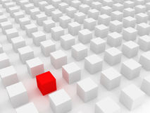 Individuality. 3d render; isolated red cube stock illustration