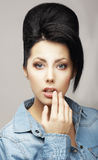 Individuality. Charming Classy Brunette in Reverie. Trendy Coiffure with Forelock stock photography