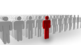 Individuality concept. 3D illustrated concept of a person Standing out from the crowd Royalty Free Stock Photography