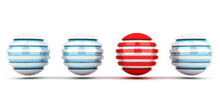 Individuality concept of blue and red spheres Royalty Free Stock Photography