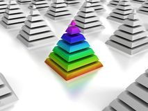 Individuality concept colorful pyramid Stock Images
