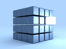 Individuality concept with one shining cube. 3d Royalty Free Stock Images