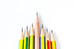 Individuality concept. Pencils  on white Royalty Free Stock Image