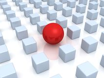 Individuality concept. unique red ball and cubes Stock Photos