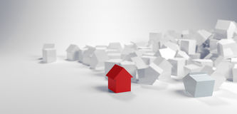Individuality and diversity concept. With a single red model house standing in the foreground of a large pile of white houses in a panoramic banner Royalty Free Stock Images