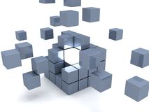 Individuality light cube in center of gray team. One individuality light cube in center of gray team 3d Stock Image